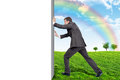 Businessman changing emptyness on nature landscape Royalty Free Stock Photo