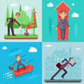 Businessman Characters Set Experienced Professional Manager Success Growth Icon Infographics Flat Design Web Template