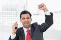 Businessman cheering with clenched fist at office portrait of an elegant Stock Photography