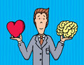 Businessman choosing between heart and brain cartoon illustration of a balancing mind feeling Stock Photography