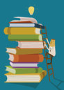Businessman climb up the ladder for find ideas form books illustrator Stock Photos