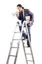 Businessman climbing career ladder Stock Photography
