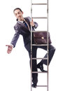 Businessman climbing the ladder Stock Photo