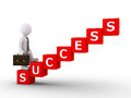 Businessman climbing stairs of success d is made cubes lettering word Royalty Free Stock Photography