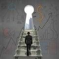 Businessman climbing to key shape door with business doodles