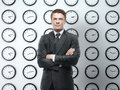 Businessman clock backgrounds Royalty Free Stock Image