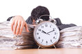 Businessman with clock giant alarm Stock Photo