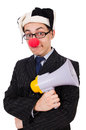 Businessman clown with loudspeaker on white Stock Image