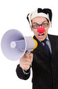 Businessman clown with loudspeaker on white Royalty Free Stock Photography