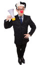 Businessman clown with loudspeaker on white Stock Photo