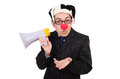 Businessman clown with loudspeaker on white Royalty Free Stock Images