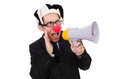 Businessman clown with loudspeaker on white Royalty Free Stock Image