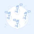 Businessman on coffee break smart phone talk chat bubble communication vector illustration Royalty Free Stock Photography
