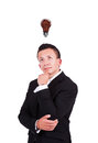 Businessman with coffee bulb over his head