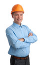 Businessman with construction helmet Stock Photos