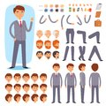 Businessman constructor vector creation of male character with manlike head and face emotions illustration set of mans