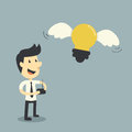 Businessman control lightbulb Royalty Free Stock Photography