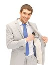 Businessman with credit card bright picture of happy Royalty Free Stock Image