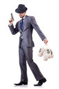 Businessman criminal with sacks of money Stock Photography