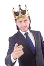 Businessman with crown isolated on white Royalty Free Stock Image