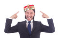 Businessman with crown isolated on white Stock Images
