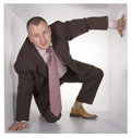 Businessman in the cube Royalty Free Stock Photo
