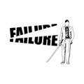 Businessman cutting the word FAILURE with samurai sword Royalty Free Stock Photo
