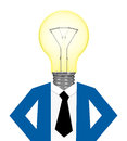 The businessman d generated picture of a with a light bulb head Royalty Free Stock Images