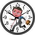 Businessman Deadline Clock Running Isolated Royalty Free Stock Photo