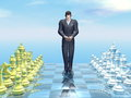 Businessman defeat d render looking sad for on chessboard Stock Photo