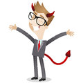 Businessman with devils horns and tail Stock Image