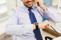 Businessman dialing number and calling on phone Royalty Free Stock Photo