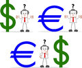 Businessman with dollar euro cartoon businessmen have problems and Stock Photo