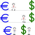 Businessman with dollar euro cartoon happy and walking to and sign and looking happily Royalty Free Stock Photo