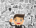 Businessman and doodle business element background cartoon illustration Royalty Free Stock Images