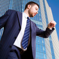 Businessman in a downtown district Royalty Free Stock Photo