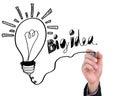 Businessman drawing light bulb with big idea.