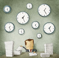 Businessman drowning in paperwork clocks on wall illustration of Stock Image
