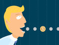Businessman eating coins cartoon some Royalty Free Stock Photo