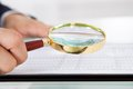 Businessman examining audit with magnifying glass in office cropped image of at desk Royalty Free Stock Photo