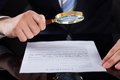 Businessman examining contract paper with magnifying glass Royalty Free Stock Photo