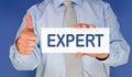Businessman with expert sign  Stock Photos