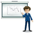 A businessman explaining the graph in the bulletin board illustration of on white background Stock Photo