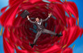 Businessman falls into abyss over red Stock Photos