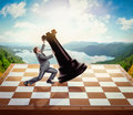 Businessman fighting with a chessman on chess board over nature background Royalty Free Stock Image