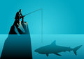 Businessman fishing a shark Royalty Free Stock Photo