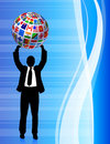 Businessman with Flags Globe Stock Photos