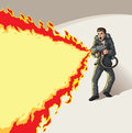 Businessman with flame thrower cartoon drawing of a guy a Royalty Free Stock Photography