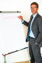 Businessman with flipchart portrait of a writing success in red letters on text can easily be removed and exchanged as needed Royalty Free Stock Image