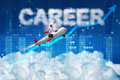 The businessman flying in career concept